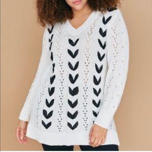 Lane Bryant White Lace Up Sweater